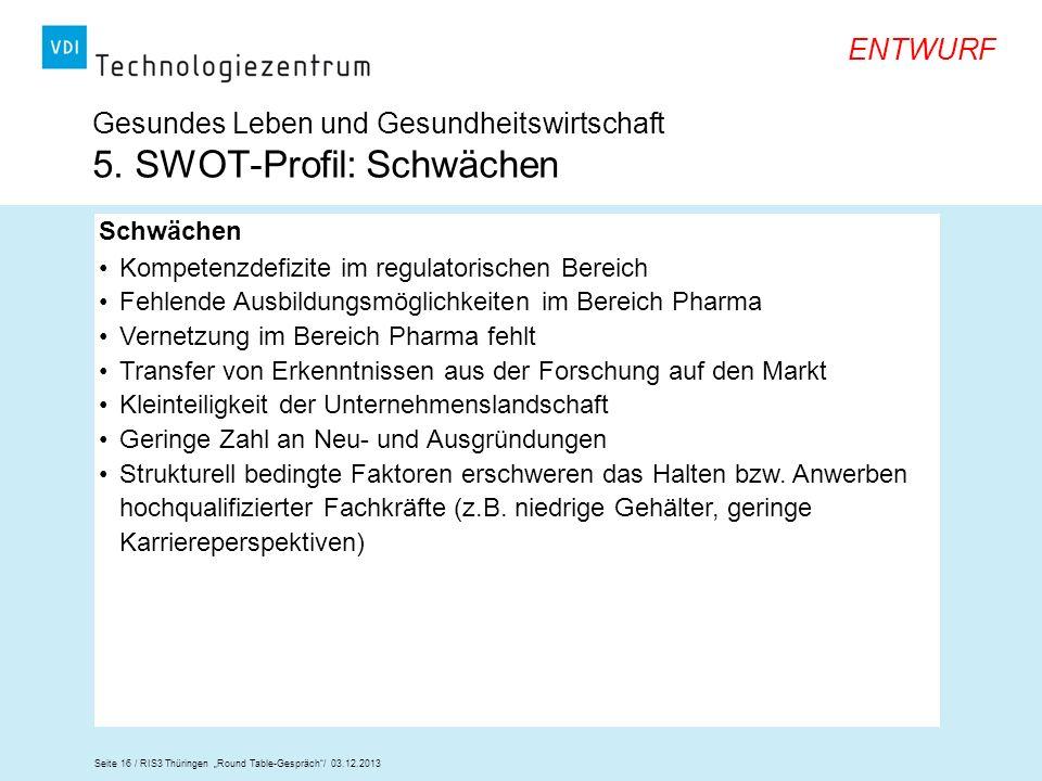 Seite 16 / RIS3 Thüringen Round Table-Gespräch/ 03.12.2013 ENTWURF Gesundes Leben und Gesundheitswirtschaft 5. SWOT-Profil: Schwächen Schwächen Kompet