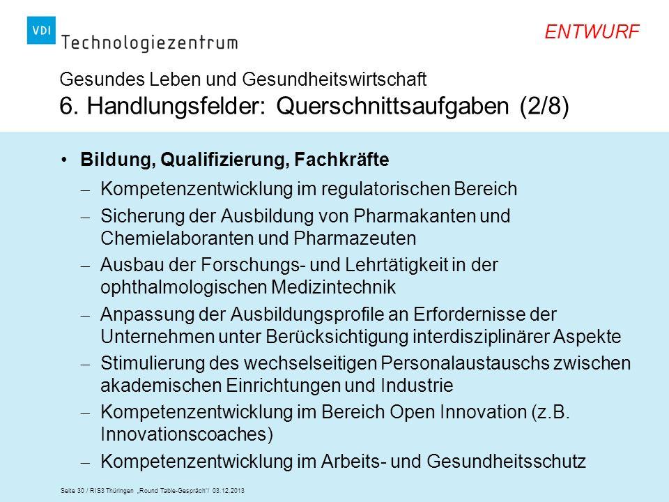 Seite 30 / RIS3 Thüringen Round Table-Gespräch/ 03.12.2013 ENTWURF Gesundes Leben und Gesundheitswirtschaft 6. Handlungsfelder: Querschnittsaufgaben (