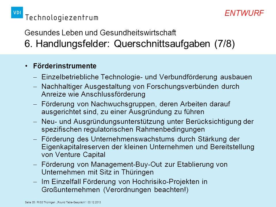 Seite 35 / RIS3 Thüringen Round Table-Gespräch/ 03.12.2013 ENTWURF Gesundes Leben und Gesundheitswirtschaft 6. Handlungsfelder: Querschnittsaufgaben (