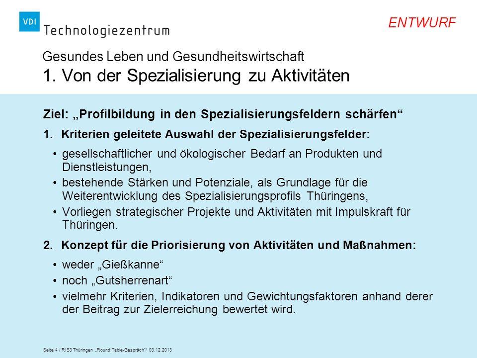 Seite 4 / RIS3 Thüringen Round Table-Gespräch/ 03.12.2013 ENTWURF Gesundes Leben und Gesundheitswirtschaft 1. Von der Spezialisierung zu Aktivitäten Z