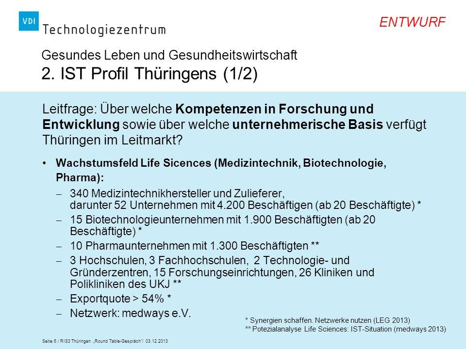 Seite 6 / RIS3 Thüringen Round Table-Gespräch/ 03.12.2013 ENTWURF Wachstumsfeld Life Sicences (Medizintechnik, Biotechnologie, Pharma): 340 Medizintec