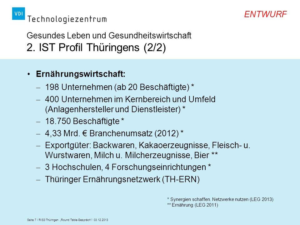 Seite 7 / RIS3 Thüringen Round Table-Gespräch/ 03.12.2013 ENTWURF Ernährungswirtschaft: 198 Unternehmen (ab 20 Beschäftigte) * 400 Unternehmen im Kern