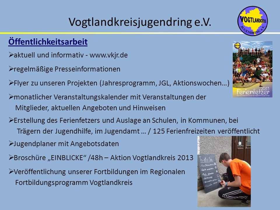 Vogtlandkreisjugendring e.V. Öffentlichkeitsarbeit aktuell und informativ - www.vkjr.de regelmäßige Presseinformationen Flyer zu unseren Projekten (Ja