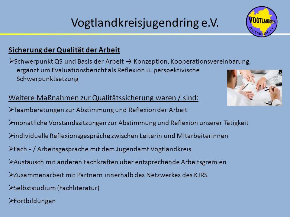 Vogtlandkreisjugendring e.V. Sicherung der Qualität der Arbeit Schwerpunkt QS und Basis der Arbeit Konzeption, Kooperationsvereinbarung, ergänzt um Ev