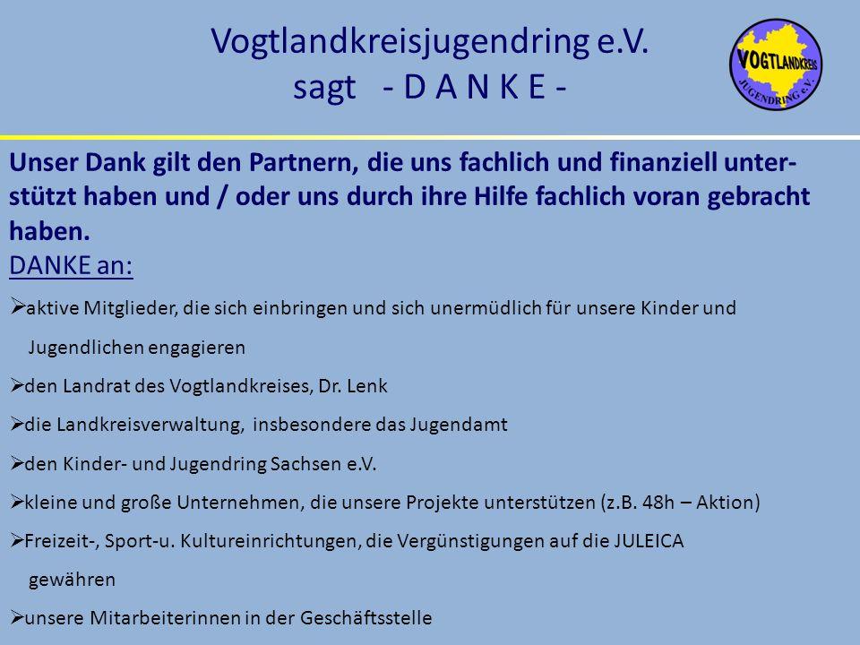Vogtlandkreisjugendring e.V. sagt - D A N K E - Unser Dank gilt den Partnern, die uns fachlich und finanziell unter- stützt haben und / oder uns durch