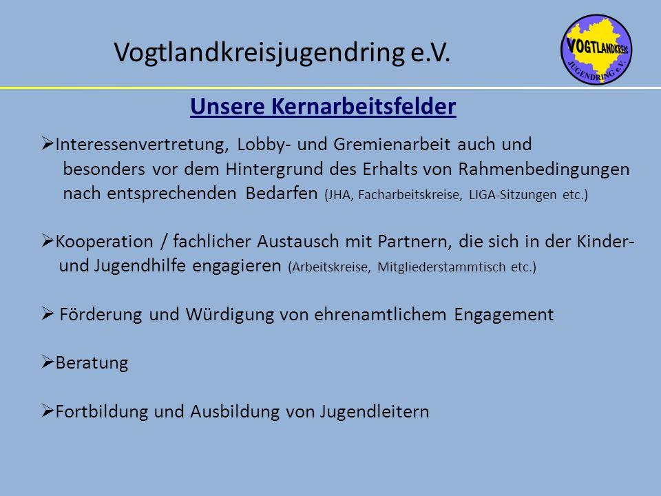 Vogtlandkreisjugendring e.V. Unsere Kernarbeitsfelder Interessenvertretung, Lobby- und Gremienarbeit auch und besonders vor dem Hintergrund des Erhalt