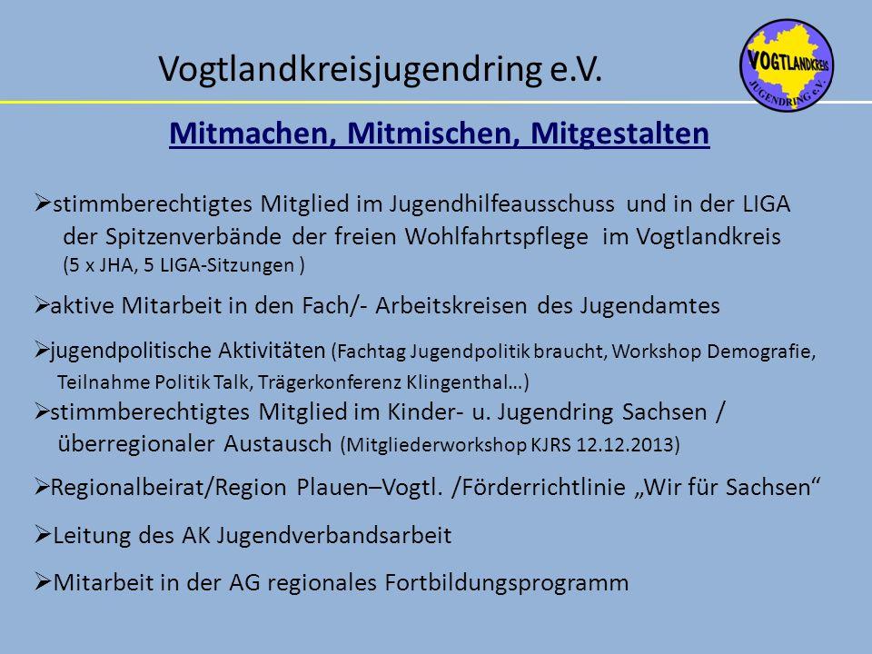 Vogtlandkreisjugendring e.V. Mitmachen, Mitmischen, Mitgestalten stimmberechtigtes Mitglied im Jugendhilfeausschuss und in der LIGA der Spitzenverbänd