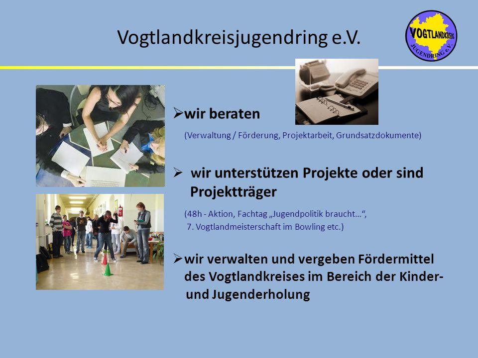 Vogtlandkreisjugendring e.V. wir beraten (Verwaltung / Förderung, Projektarbeit, Grundsatzdokumente) w ir unterstützen Projekte oder sind Projektträge