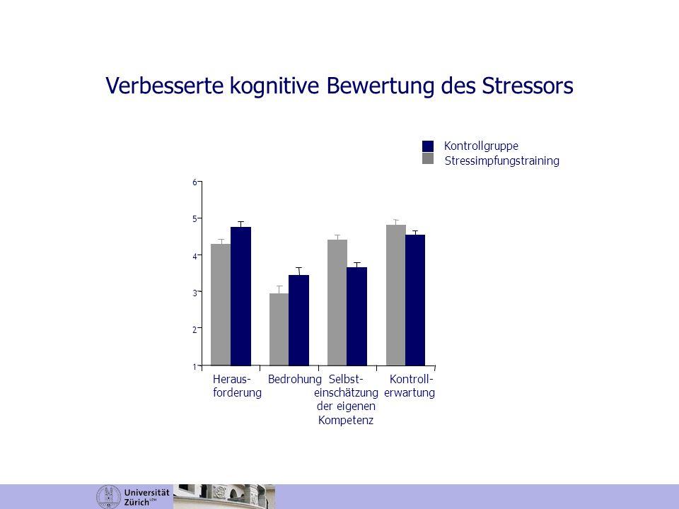 Heraus- forderung BedrohungSelbst- einschätzung der eigenen Kompetenz Kontroll- erwartung 1 2 3 4 5 6 Verbesserte kognitive Bewertung des Stressors Ko