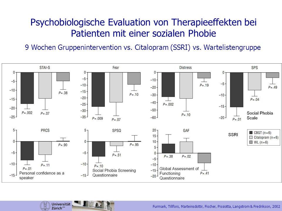 Furmark, Tillfors, Marteinsdottir, Fischer, Pissiotta, Langstrom & Fredrikson, 2002 Psychobiologische Evaluation von Therapieeffekten bei Patienten mi