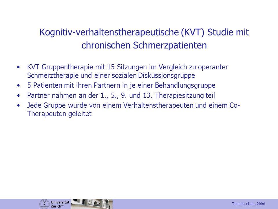 Kognitiv-verhaltenstherapeutische (KVT) Studie mit chronischen Schmerzpatienten KVT Gruppentherapie mit 15 Sitzungen im Vergleich zu operanter Schmerz