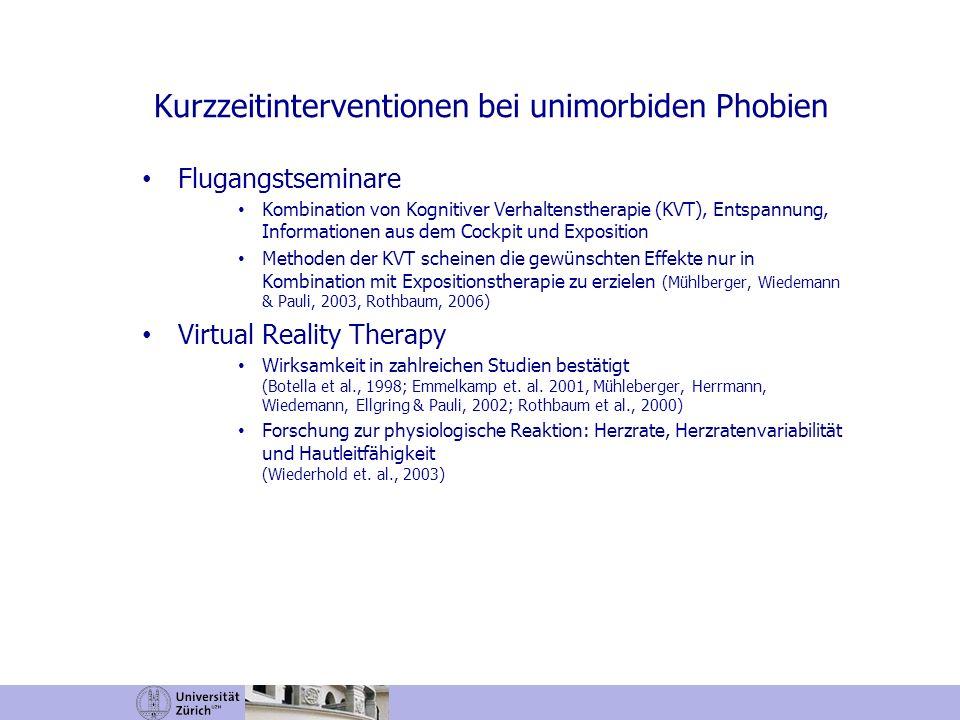 Flugangstseminare Kombination von Kognitiver Verhaltenstherapie (KVT), Entspannung, Informationen aus dem Cockpit und Exposition Methoden der KVT sche
