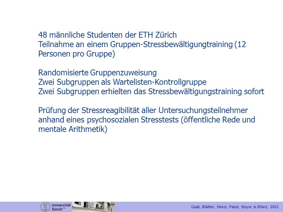 48 männliche Studenten der ETH Zürich Teilnahme an einem Gruppen-Stressbewältigungtraining (12 Personen pro Gruppe) Randomisierte Gruppenzuweisung Zwe