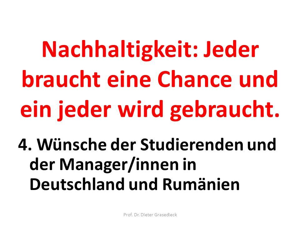 Nachhaltigkeit: Jeder braucht eine Chance und ein jeder wird gebraucht. 4. Wünsche der Studierenden und der Manager/innen in Deutschland und Rumänien