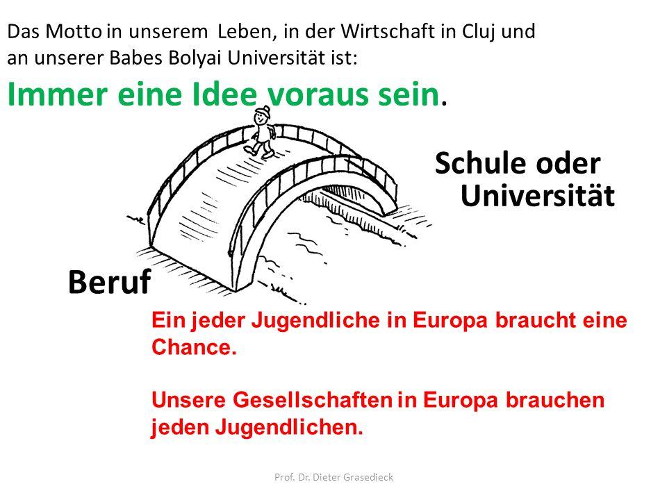 Schule oder Universität Prof. Dr. Dieter Grasedieck Beruf Ein jeder Jugendliche in Europa braucht eine Chance. Unsere Gesellschaften in Europa brauche
