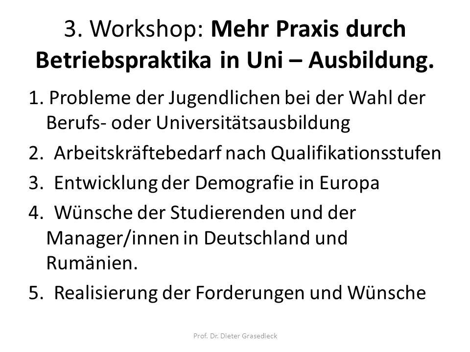 3. Workshop: Mehr Praxis durch Betriebspraktika in Uni – Ausbildung. 1. Probleme der Jugendlichen bei der Wahl der Berufs- oder Universitätsausbildung