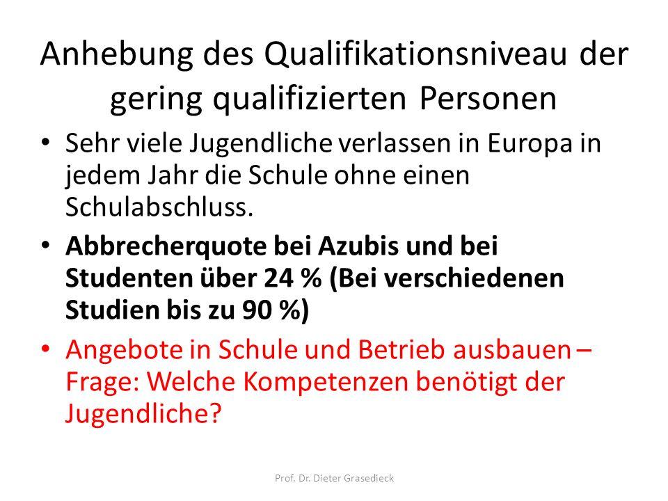 Anhebung des Qualifikationsniveau der gering qualifizierten Personen Sehr viele Jugendliche verlassen in Europa in jedem Jahr die Schule ohne einen Sc
