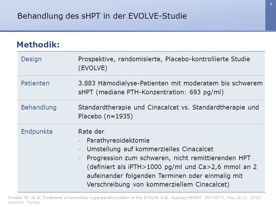 3 Behandlung des sHPT in der EVOLVE-Studie Drueke TB. et al. Treatment of secondary hyperparathyroidism in the EVOLVE trial. Abstract MO007, ERA-EDTA,