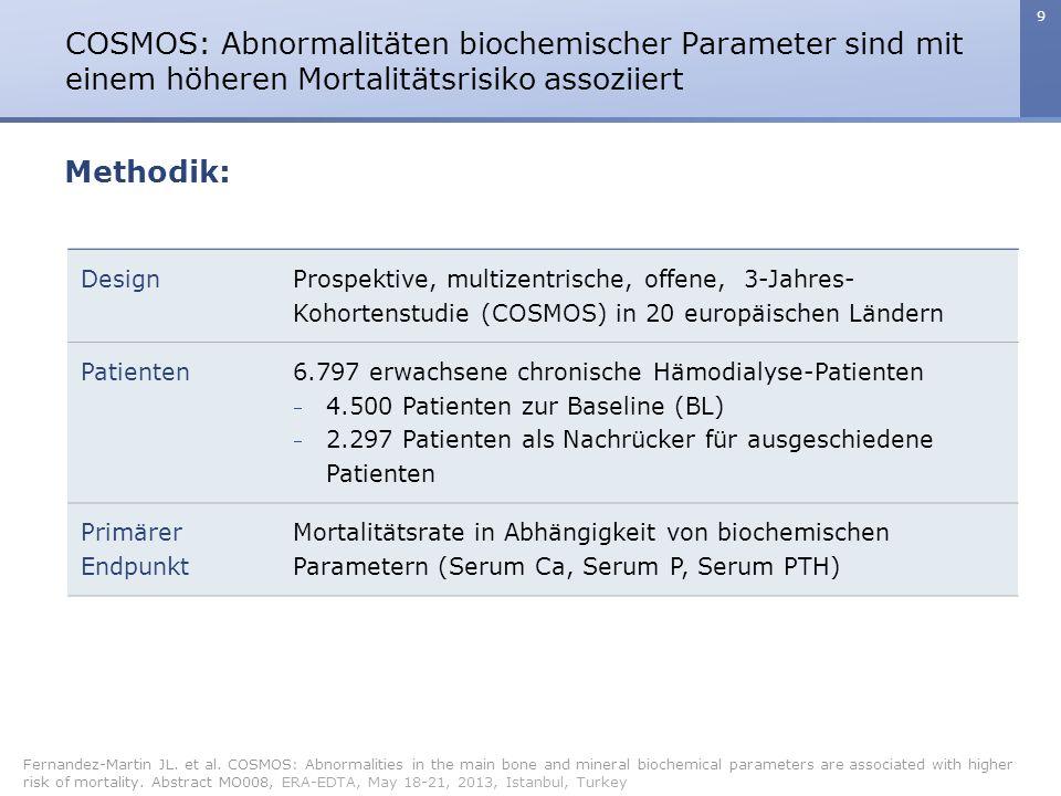 9 COSMOS: Abnormalitäten biochemischer Parameter sind mit einem höheren Mortalitätsrisiko assoziiert Fernandez-Martin JL. et al. COSMOS: Abnormalities