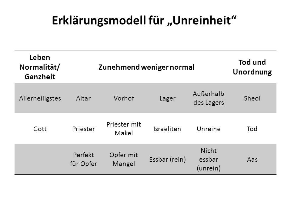 Erklärungsmodell für Unreinheit Leben Normalität/ Ganzheit Zunehmend weniger normal Tod und Unordnung AllerheiligstesAltarVorhofLager Außerhalb des La