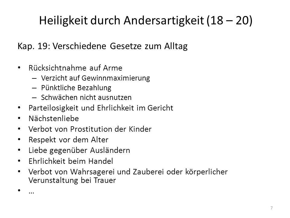Heiligkeit durch Andersartigkeit (18 – 20) Kap.