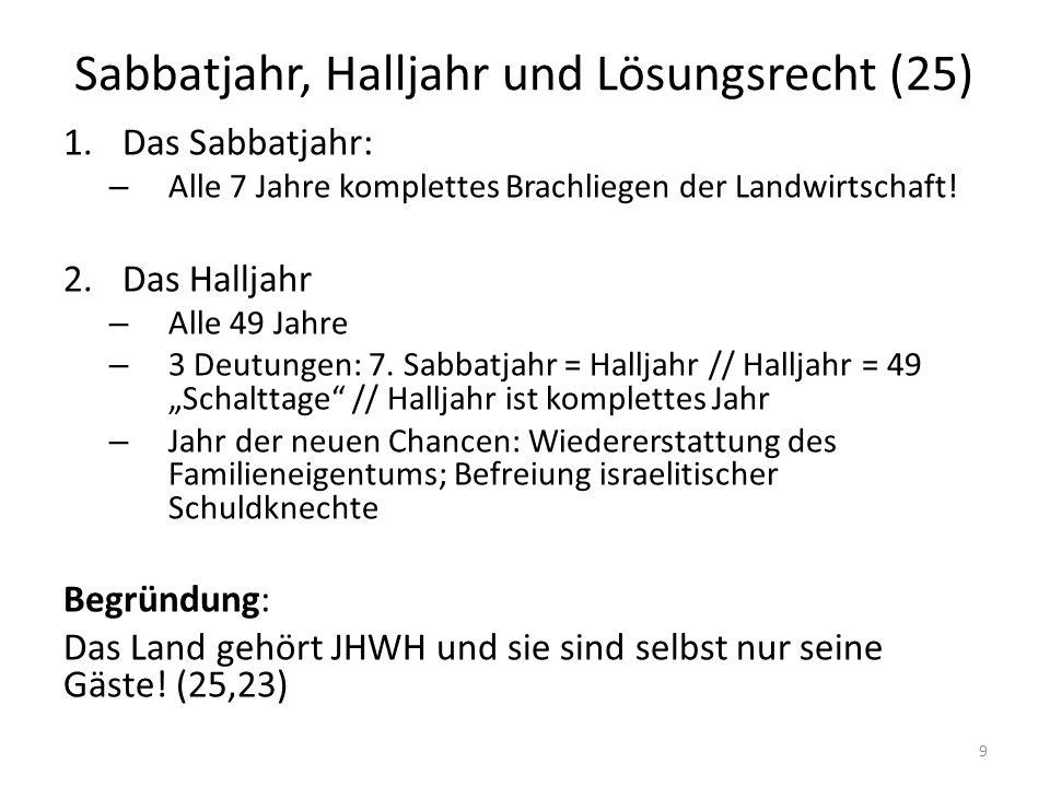 Sabbatjahr, Halljahr und Lösungsrecht (25) 1.Das Sabbatjahr: – Alle 7 Jahre komplettes Brachliegen der Landwirtschaft! 2.Das Halljahr – Alle 49 Jahre