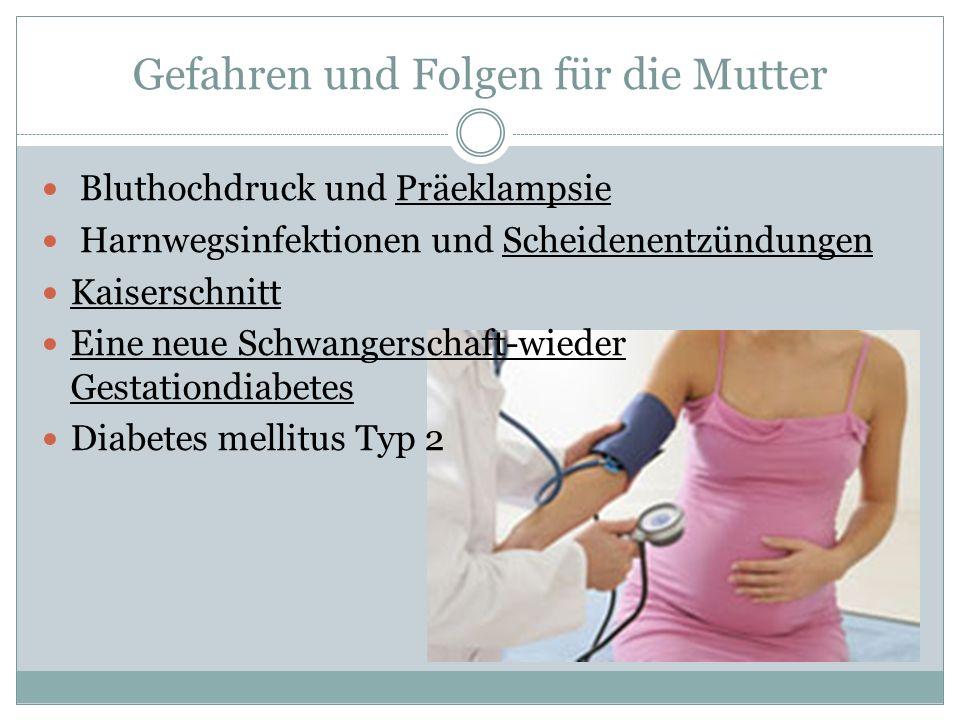 Gefahren und Folgen für die Mutter Bluthochdruck und Präeklampsie Harnwegsinfektionen und Scheidenentzündungen Kaiserschnitt Eine neue Schwangerschaft