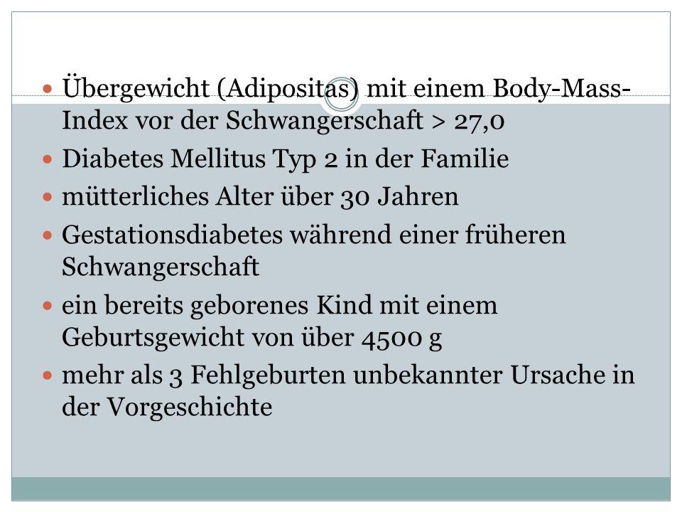 Übergewicht (Adipositas) mit einem Body-Mass- Index vor der Schwangerschaft > 27,0 Diabetes Mellitus Typ 2 in der Familie mütterliches Alter über 30 J
