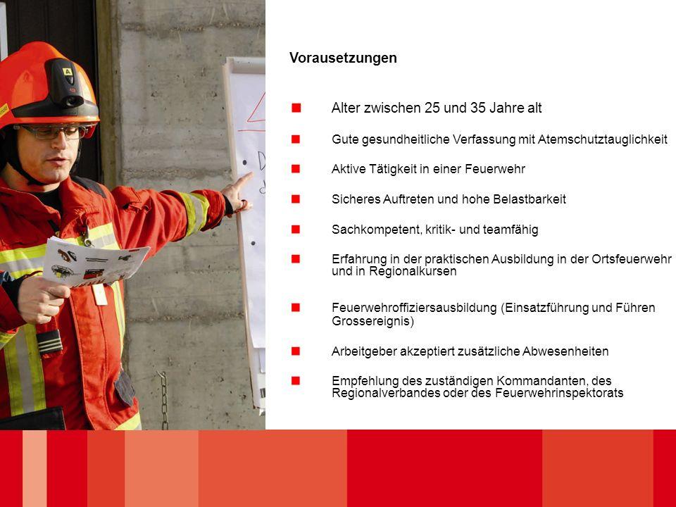 Vorausetzungen Alter zwischen 25 und 35 Jahre alt Gute gesundheitliche Verfassung mit Atemschutztauglichkeit Aktive Tätigkeit in einer Feuerwehr Siche