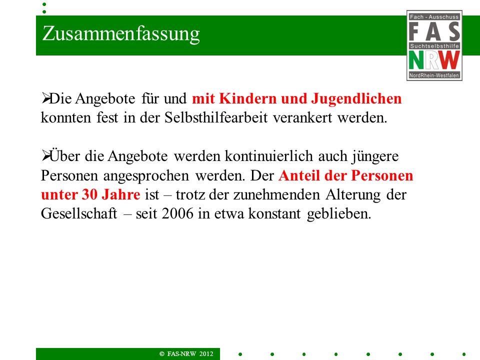 © FAS-NRW 2012 Zusammenfassung Die Angebote für und mit Kindern und Jugendlichen konnten fest in der Selbsthilfearbeit verankert werden. Über die Ange