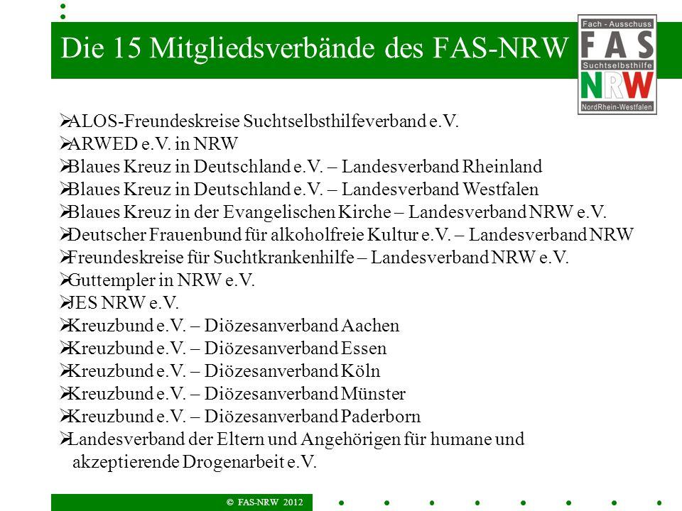 © FAS-NRW 2012 Die 15 Mitgliedsverbände des FAS-NRW ALOS-Freundeskreise Suchtselbsthilfeverband e.V. ARWED e.V. in NRW Blaues Kreuz in Deutschland e.V