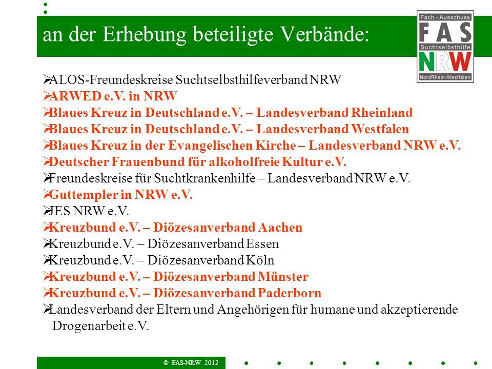 © FAS-NRW 2012 An an der Erhebung beteiligte Verbände: ALOS-Freundeskreise Suchtselbsthilfeverband NRW ARWED e.V. in NRW Blaues Kreuz in Deutschland e