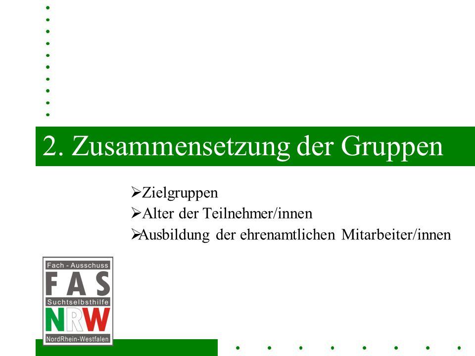 2. Zusammensetzung der Gruppen Zielgruppen Alter der Teilnehmer/innen Ausbildung der ehrenamtlichen Mitarbeiter/innen