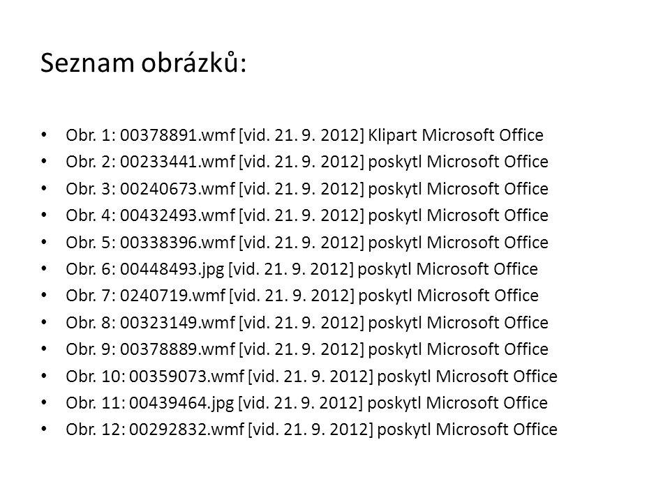 Seznam obrázků: Obr. 1: 00378891.wmf [vid. 21. 9. 2012] Klipart Microsoft Office Obr. 2: 00233441.wmf [vid. 21. 9. 2012] poskytl Microsoft Office Obr.