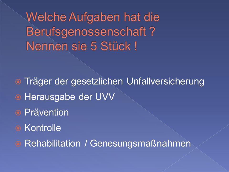 Träger der gesetzlichen Unfallversicherung Herausgabe der UVV Prävention Kontrolle Rehabilitation / Genesungsmaßnahmen