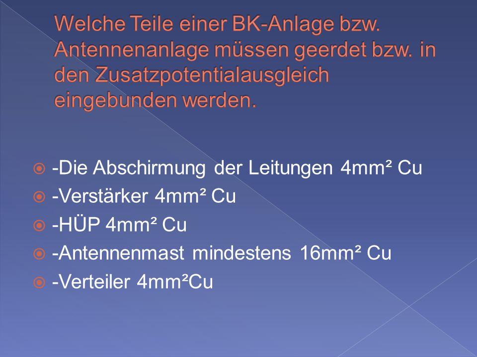 -Die Abschirmung der Leitungen 4mm² Cu -Verstärker 4mm² Cu -HÜP 4mm² Cu -Antennenmast mindestens 16mm² Cu -Verteiler 4mm²Cu