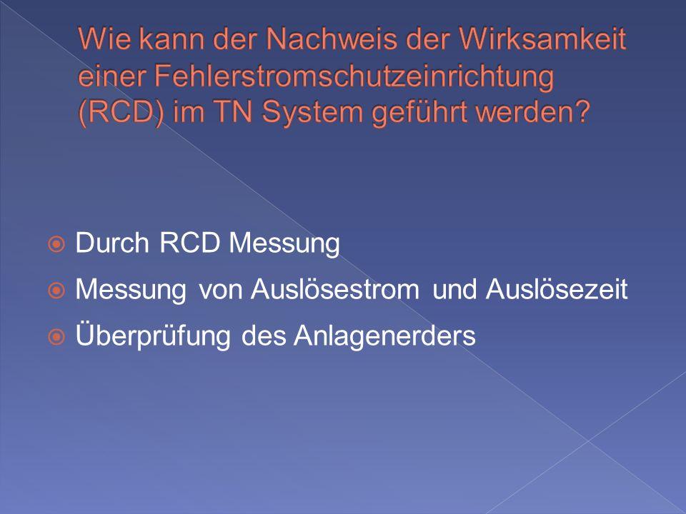 Durch RCD Messung Messung von Auslösestrom und Auslösezeit Überprüfung des Anlagenerders