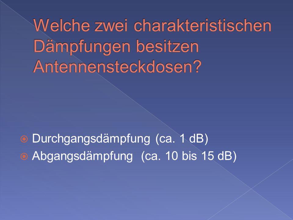 Durchgangsdämpfung (ca. 1 dB) Abgangsdämpfung (ca. 10 bis 15 dB)