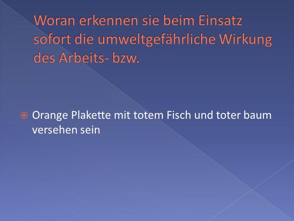 Orange Plakette mit totem Fisch und toter baum versehen sein