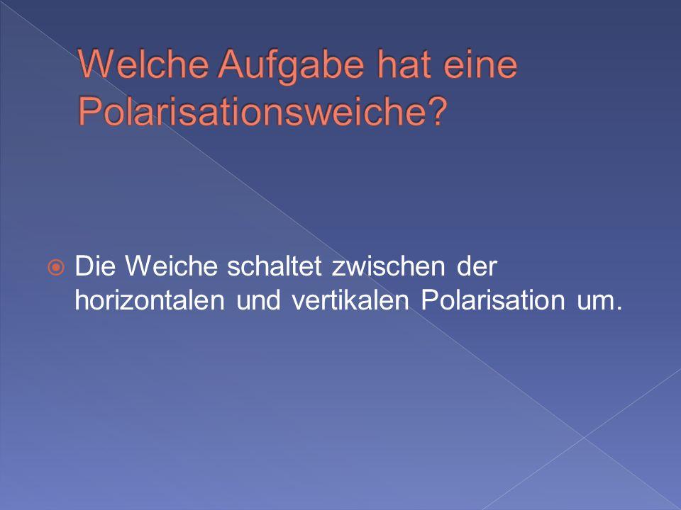 Die Weiche schaltet zwischen der horizontalen und vertikalen Polarisation um.