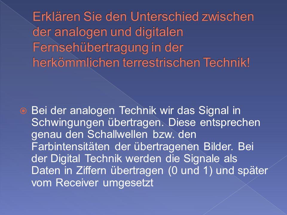 Bei der analogen Technik wir das Signal in Schwingungen übertragen.