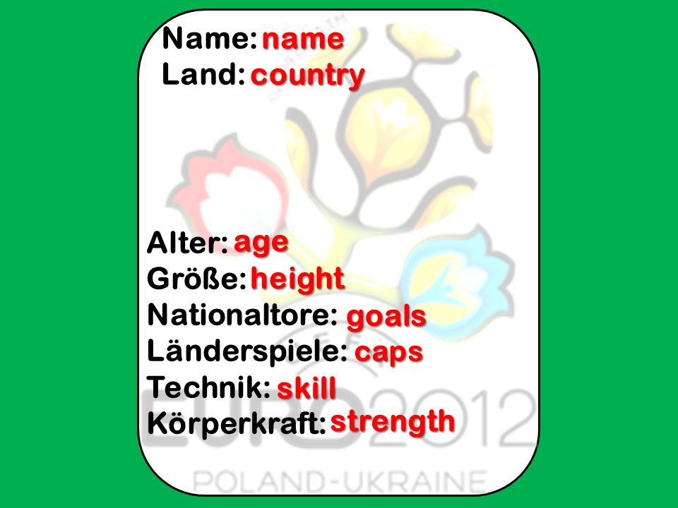 Flagge: Name: Land: Alter: Größe: Nationaltore: Länderspiele: Technik: Körperkraft: name country age height goals caps caps skill strength