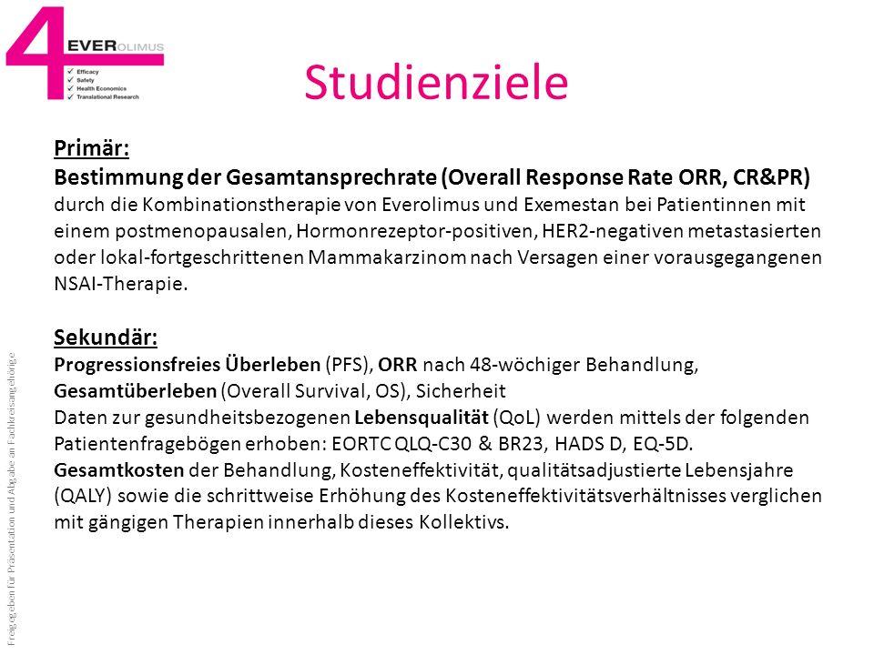 Studienziele Primär: Bestimmung der Gesamtansprechrate (Overall Response Rate ORR, CR&PR) durch die Kombinationstherapie von Everolimus und Exemestan