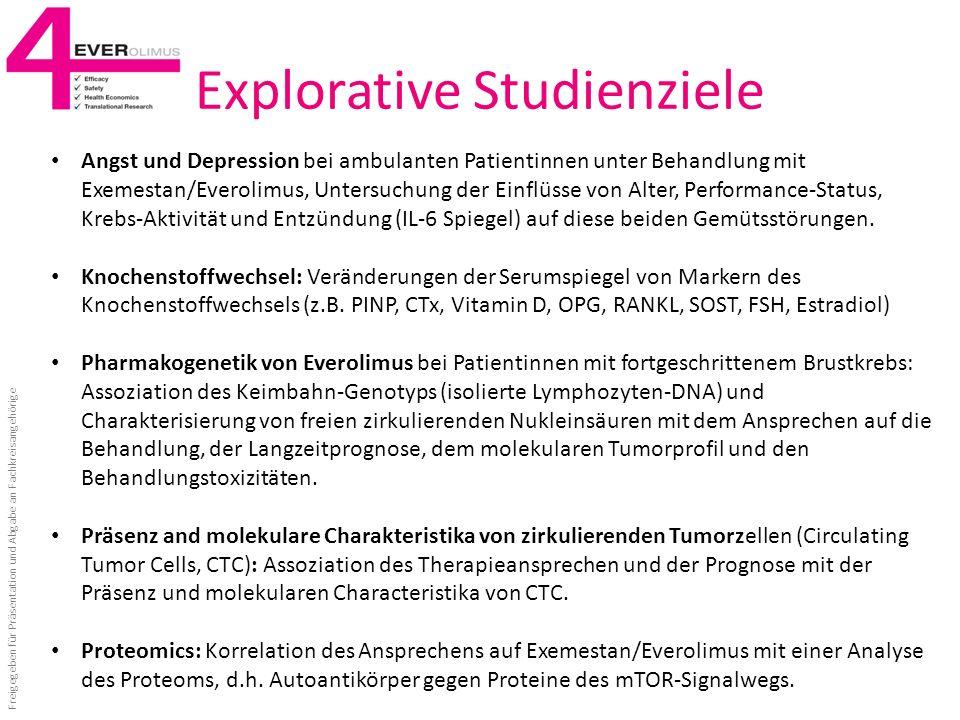 Explorative Studienziele Angst und Depression bei ambulanten Patientinnen unter Behandlung mit Exemestan/Everolimus, Untersuchung der Einflüsse von Al