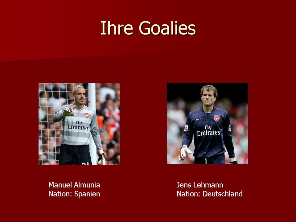 Ihre Goalies Manuel Almunia Nation: Spanien Jens Lehmann Nation: Deutschland