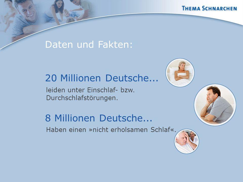 Daten und Fakten: leiden unter Einschlaf- bzw. Durchschlafstörungen. 8 Millionen Deutsche... Haben einen »nicht erholsamen Schlaf«. 20 Millionen Deuts