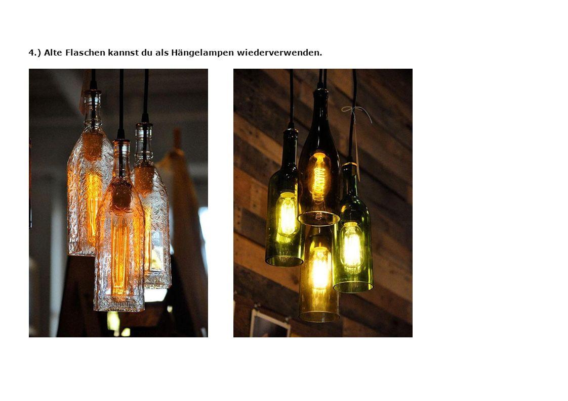 5.) Bau dir eine Lampe mit einer Heissklebepistole und Einweglöffeln.