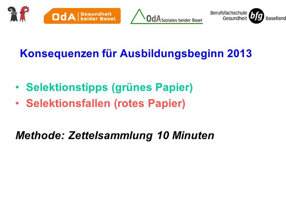 Konsequenzen für Ausbildungsbeginn 2013 Selektionstipps (grünes Papier) Selektionsfallen (rotes Papier) Methode: Zettelsammlung 10 Minuten