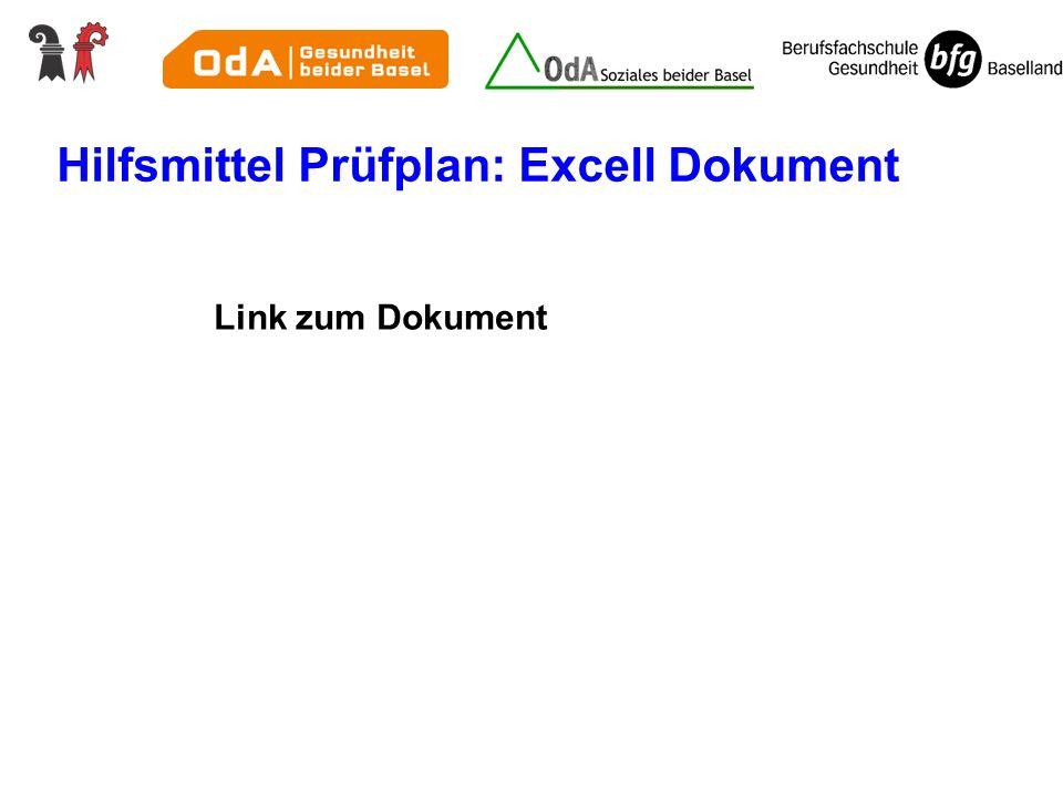 Hilfsmittel Prüfplan: Excell Dokument Link zum Dokument