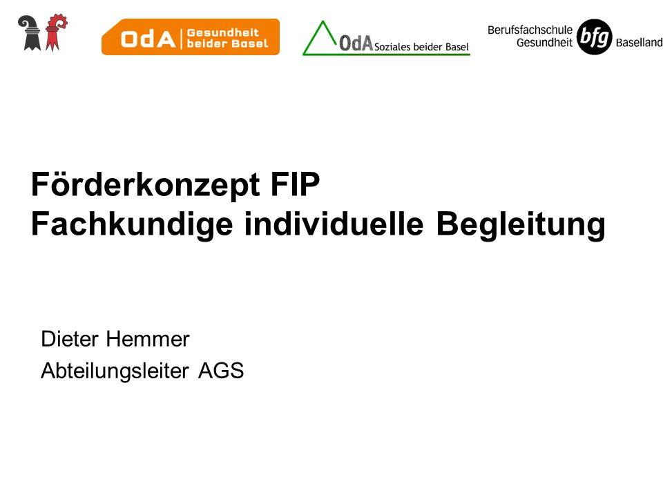 Dieter Hemmer Abteilungsleiter AGS Förderkonzept FIP Fachkundige individuelle Begleitung